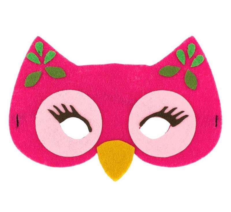 Карнавальная маска Сова розовая 17x12см