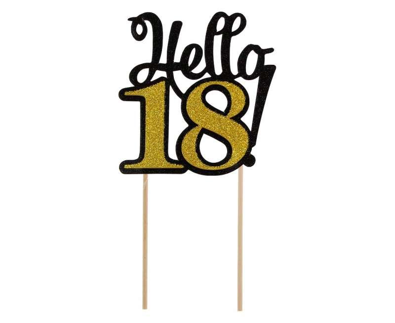Бумажный декор цифра 18,черно-золотая,топпер