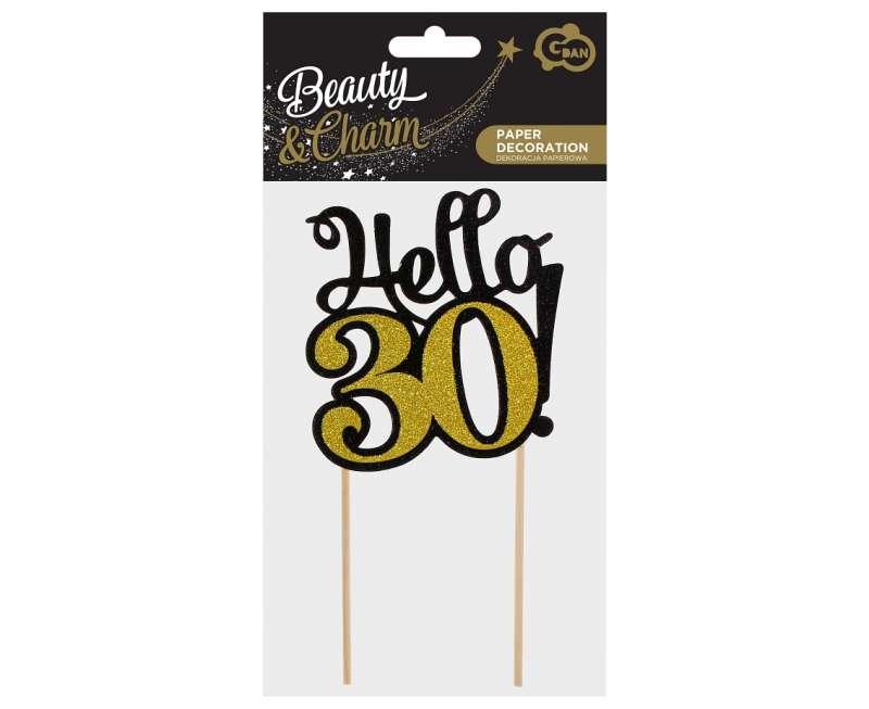 Бумажный декор Цифра 30, чёрно-золотой,топпер