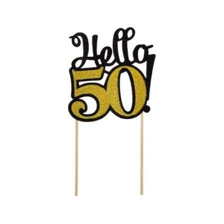 Papīra dekors Cipars 50, meln-zelta brokāts