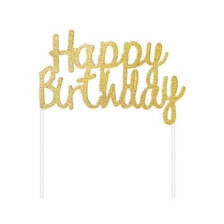 Бумажный декор С Днем Рождения, золотой топпер