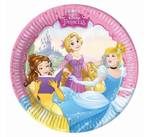 Бумажные тарелки Princeses20см/8шт.