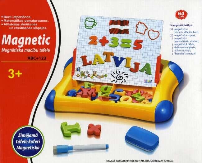 Магнитная доска для детей с цифрами и буквами на латышском языке.