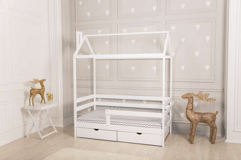 Veļas kasti bērnu gultai mājiņa Dream Home, balta krāsa