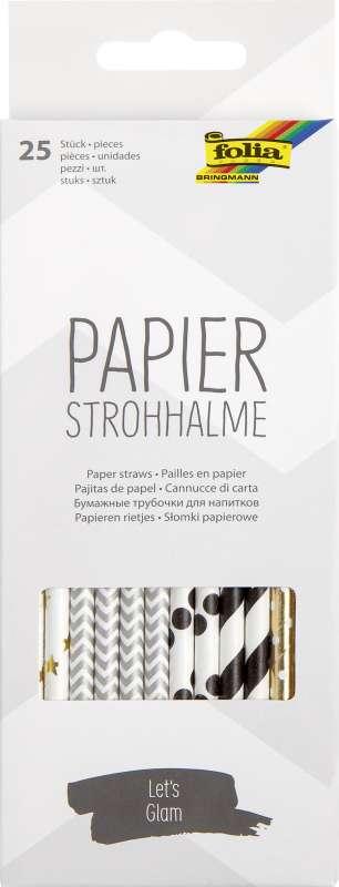 Papīra salmiņi FOLIA Lets glam,19,7cm 25 gab