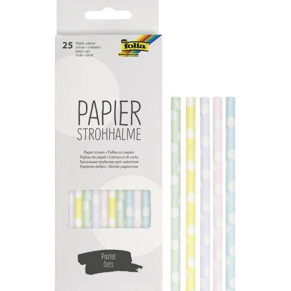 Papīra salmiņi FOLIA Pastel dots,19,7cm 25 gab