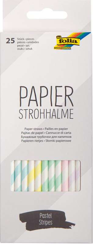 Papīra salmiņi FOLIA Pastel stripes,19,7cm 25 gab