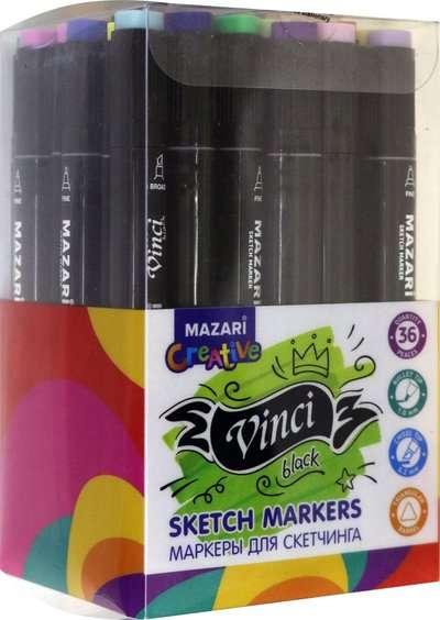 Набор маркеров для скетчинга двусторонние VINCI BLACK, 36цв.