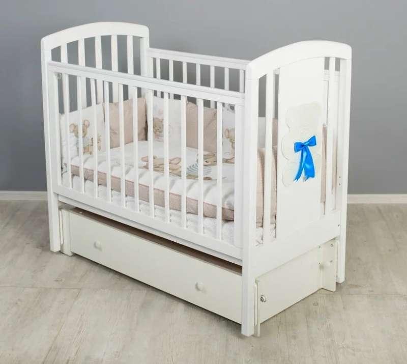 Bērnu gulta Hugge ar veļas kasti , balta krāsa